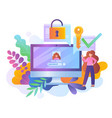 password protection online with security icons vector image
