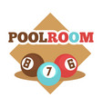 pool room isolated promotional emblem vector image vector image