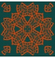 Red outlined mandala medallion on green Vintage vector image vector image