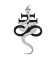 serpent over leviathan cross alchemical symbol vector image
