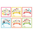 set of gift tags with purim costumes props vector image vector image