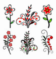 set stylized flowers vector image