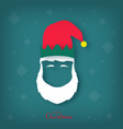silhouette of a christmas elf head with a white vector image vector image