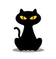 silhouette of cat on white background vector image