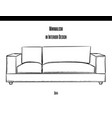 sofa with soft pillows in a contour on a white vector image vector image