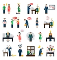 Stress depression mental health icons set vector image