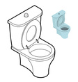 Toilet WC coloring book Bathroom accessories in vector image