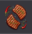 two piece of meat steak vector image vector image