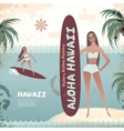 vintage banner hawaiian island with a surf girl vector image vector image