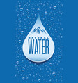 water packaging label with many water drops vector image vector image