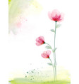 watercolor hand painted with pink floral vector image vector image
