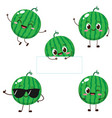 watermelon character with funny face vector image