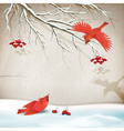 Winter Landscape with Birds vector image vector image