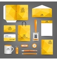 Yellow geometric technology business stationery vector image vector image