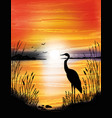 the heron on the lake on sunset vector image