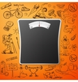 healthy lifestyle background with Bathroom Weight vector image
