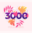 3000 followers banner - modern flat design style vector image