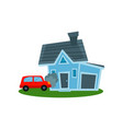 auto crashing into wall of home property vector image