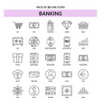 banking line icon set - 25 dashed outline style vector image