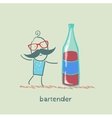 Bartender is a great bottle of wine vector image vector image