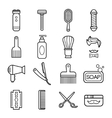 Beauty and Care Barber Shop Linear Icons vector image