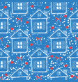 blue and red christmas seamless pattern vector image vector image