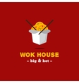 bright wok box chinese cafe logo brand vector image