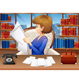 Businesswoman reading papers in office vector image vector image