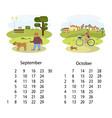 calendar 2018 september october vector image vector image