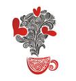 Caps tea coffee love heart romantic menu vector image