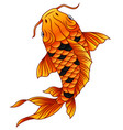 cartoon koi fish swimming on white background vector image vector image