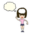 cartoon woman with idea with thought bubble vector image vector image