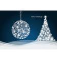 Christmas ball and Christmas tree with snowflakes vector image
