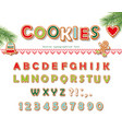 christmas gingerbread cookie font biscuit letters vector image