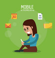color poster of mobile technology with woman vector image vector image