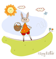 Easter bunny with a basket of Easter eggs vector image