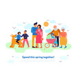 family spring flat composition vector image
