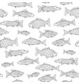 fish seamless pattern in doodle style hand drawn vector image vector image