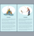 fishing posters set and titles vector image vector image