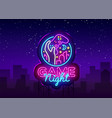 game night neon sign logo design template vector image vector image