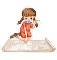 Girl plotting on map vector image vector image