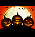 halloween pumpkins on the full moon vector image vector image