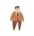 handsome overweight man dressed brown suit fat vector image vector image