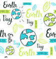 happy earth day seamless pattern with hand drawing vector image