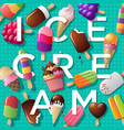 ice cream and letters vector image vector image