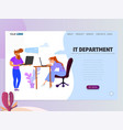landing page template - it department homepage vector image
