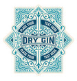 luxury gin label with floral ornaments vector image vector image
