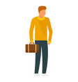 man with leather bag icon flat style vector image vector image