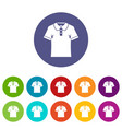 men polo shirt icons set flat vector image vector image