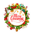 merry christmas wreath greeting card vector image